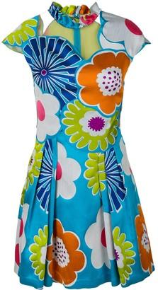Talbot Runhof floral cap sleeved dress