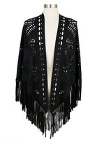 Women's Faux Suede Shawl with Fringe