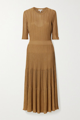 CASASOLA Ribbed-knit Midi Dress - Tan