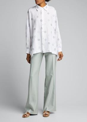 eskandar Embroidered Linen Long-Back Shirt