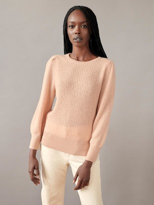 White + Warren Cashmere Mini Cable Puff Sleeve Crewneck