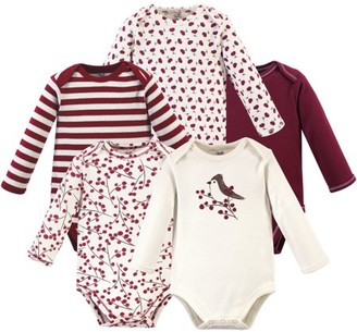 Touched by Nature Baby Girl Long-Sleeve Organic Bodysuits, 5-Pack