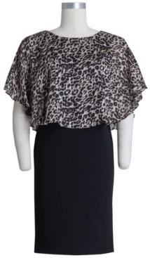 Connected Petite Animal-Print-Bodice Sheath Dress
