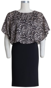 Connected Plus Size Animal-Print-Bodice Sheath Dress