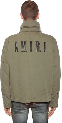 Amiri Cotton Canvas Jacket W/ Leather Patches
