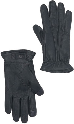 UGG Faux Fur Lined 3-Point Leather Gloves