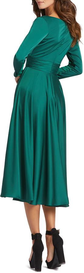 Thumbnail for your product : Mac Duggal Long-Sleeve Pleated Satin Midi Dress