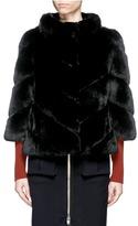 Yves Salomon Leather trim chevron panel rabbit fur coat