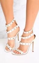 PrettyLittleThing Latasha White Studded Strappy Heels