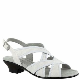 Easy Street Shoes Womens Viola Sandal White Linen Print 7 US Medium
