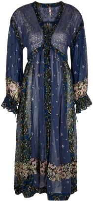 Free People Samira embellished georgette maxi shirt