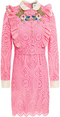 Gucci Floral-appliqued Ruffled Broderie Anglaise Cotton Mini Shirt Dress