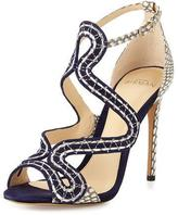 Alexandre Birman New Alice Suede/Snake 100mm Sandal, Bali/Mono Natural