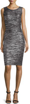 St. John Painted Metallic Sleeveless Sheath Dress, Caviar/Silver Shimmer Multi