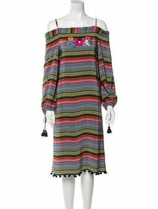 Figue Silk Knee-Length Dress Green