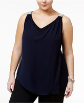 MSK Plus Size Draped Rhinestone-Strap Blouse