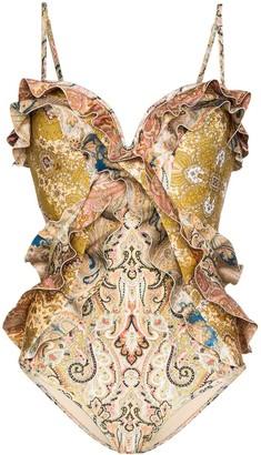 Zimmermann paisley pattern ruffled swimsuit