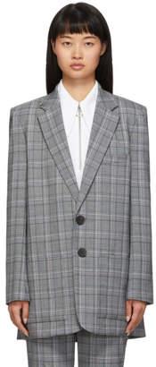 Tibi Grey Check James Menswear Long Blazer