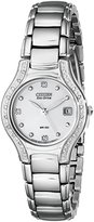 Citizen Women's EW0970-51B Silhouette Diamond Eco Drive Watch in Silver Tone