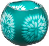 Casa Uno Flower Cut Glass Candle Holder, Acid Blue, Small