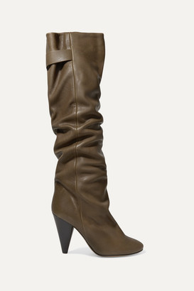 Isabel Marant Lacine Leather Knee Boots - Army green