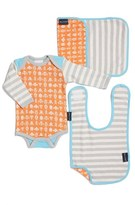 Infant Boy's Bella Tunno Bodysuit, Bib & Burpie Cloth Set