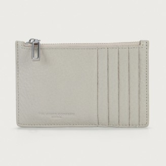 The White Company Leather Card Zip Wallet, Stone, One Size