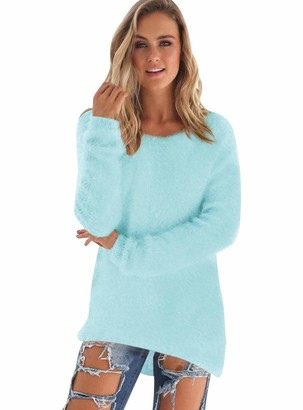 Pengniao Long Knitted Jumpers for Women Ladies Oversized Crew Neck Longline Jumper Womens Chunky Pullover Sweaters Baggy Thick Jumpers Mohair Sweater Fluffy Casual Loose Plain Knitwear Winter Pretty Green M