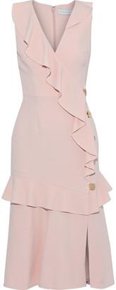 Rebecca Vallance Femmes Wrap-effect Ruffled Crepe Midi Dress