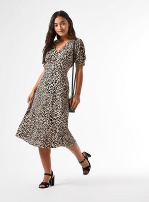 Miss Selfridge PETITE Neutral Animal Print V-Neck Midi Dress