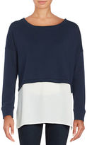 French Connection Solid Cotton Boatneck Pullover