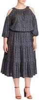 Lauren Ralph Lauren Plus Woodblock Jersey Cutout-Shoulder Midi Dress