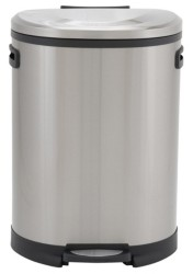 Household Essentials Stainless Steel 50L Aspen Oval Step Trash Can