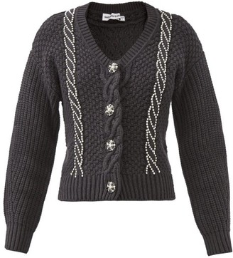 Self-Portrait Crystal-embellished Wool-blend Cardigan - Black