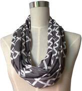 Womens Interlocking Chain Square Pattern Scarf w/ Zipper Pocket - Pop Fashion