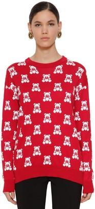 Moschino Cotton Knit Bear Crewneck Sweater