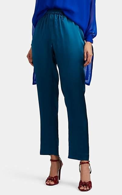Juan Carlos Obando Women's Silk Satin Track Pants - Turquoise