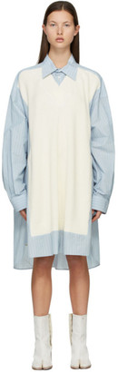 Maison Margiela Blue and Off-White Spliced Knit Shirt Dress