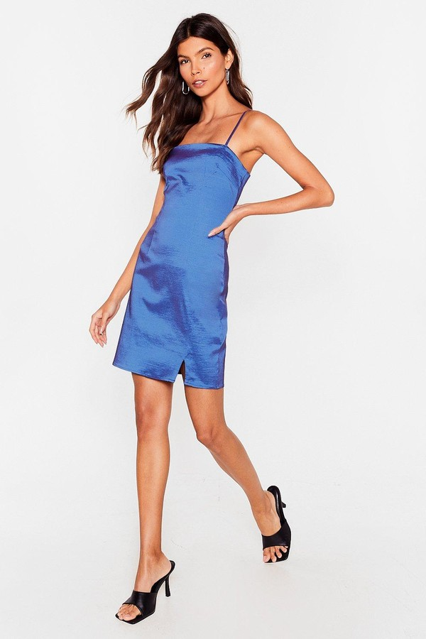 Nasty Gal Womens Satin Spaghetti Strap Slit Mini Dress - Blue - 10