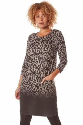 Roman Originals Women Animal Print Dress Pockets Ladies Leopard Shift Jersey Slouch Oversized Fit Work Party Casual Smock Smart Tunic - Dark-Grey - Size 14