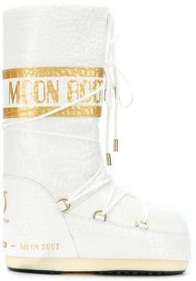 Moon Boot Crocodile-Effect Snow Boots