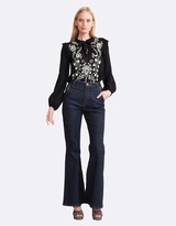 Cynthia Rowley Embroidered Georgette Tie Blouse