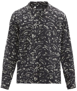 Dolce & Gabbana Logo-print Cuban-collar Silk Shirt - Black White