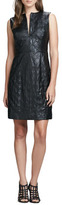 Thumbnail for your product : Milly Leather/Tweed Fitted Dress