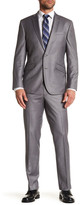 Kenneth Cole Reaction Medium Gray Sharkskin Two Button Notch Lapel Suit