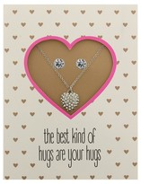 "Charlotte Women's Greeting Card Necklace and Earring Set ""The Best Kind Of Hugs Are Your Hugs"""
