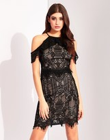 Lipsy Ruffle Lace Cold Shoulder Bodycon Dress