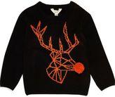 River Island Mini boys black geo reindeer Christmas Sweater