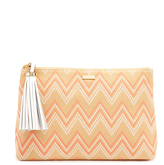 Melissa Odabash Ibiza Aztec Coral Leather and Cotton Clutch Bag