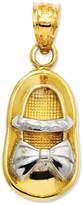 Macy's 14k Gold and Rhodium Charm, Baby Girl Shoe Charm